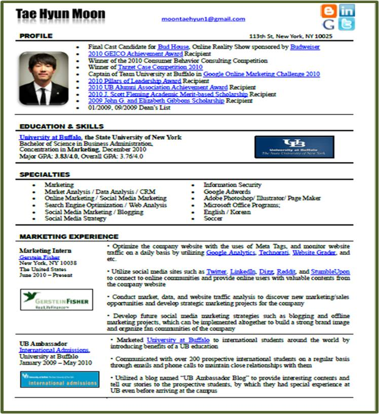 new resume format in the social media era tae hyun moon pse - Different Formats For Resumes